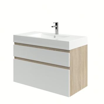 Monta badkamermeubel met wastafel grijs eiken/hoogglans wit 90 cm