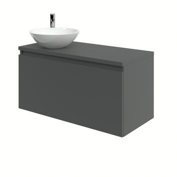 Bruynzeel Nerano badkamermeubelset 100 cm grafiet met opbouw lavabo