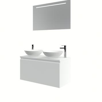 Bruynzeel Nerano badmeubelset 2xwaskom spiegel 100 mat wit