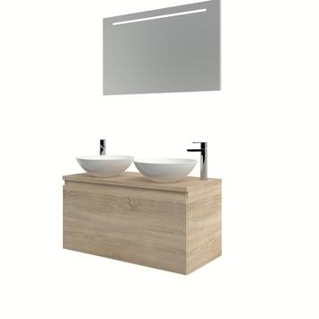 Bruynzeel Nerano badmeubelset 2xwaskom spiegel 100 bardolino