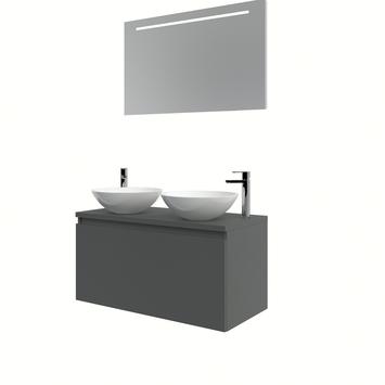 Bruynzeel Nerano badmeubelset 2xwaskom spiegel 100 grafiet