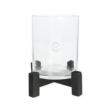 Cilinder glas windlicht met zwarte voet 20x24 cm
