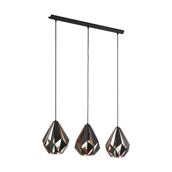 EGLO hanglamp Carlton zwart/koper