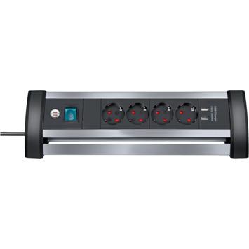 Brennenstuhl Stekkerdoos met schakelaar en USB 4-voudig zwart/grijs 1,8 meter snoer