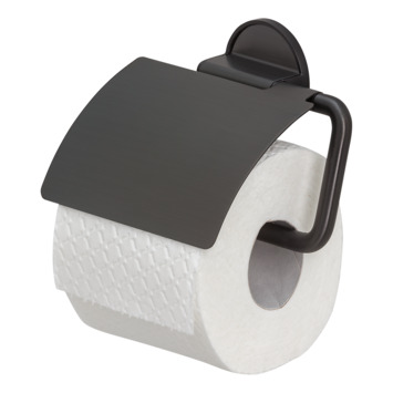 Tiger Tune toiletrolhouder met klep geborsteld zwart/mat zwart