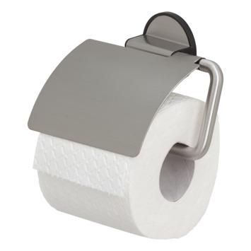 Tiger Tune toiletrolhouder met klep geborsteld RVS/mat zwart