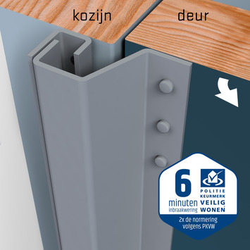 SecuStrip Plus Anti-Inbraakstrip Achterdeur RAL 7040 (Licht Grijs) terugligging 21-27 mm 230 cm