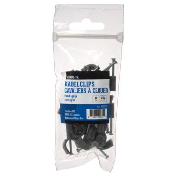 HANDSON kabelclip rond grijs 12mm (25 stuks)