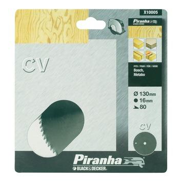 Piranha cirkelzaagblad standaard chroom vanadium 130x16 mm 80 tanden X10005