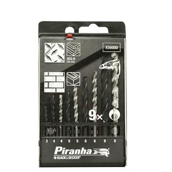 Piranha boorcassette met boren voor metaal en steen 9-delig X56000