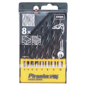 Piranha houtspiraalboor 3-4-5-6-7-8-9-10 mm 8 stuks X56006