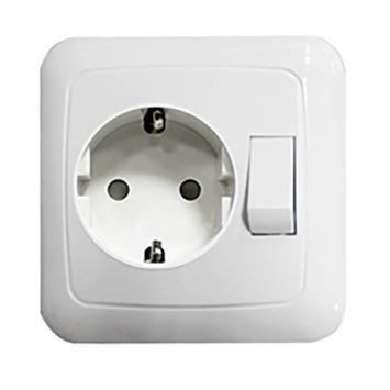 GAMMA K2 Geaard Stopcontact met Schakelaar Wit