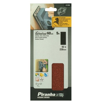 Piranha schuurstrook K60 230x93 mm 5 stuks X31096