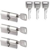 Nemef Veiligheidscilinder NF2 30/30 mm SKG 2-sterren gelijksluitend 3 stuks