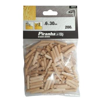 Piranha houten deuvels 6 mm 200 stuks X66431