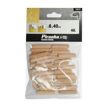 Piranha houten deuvels 8 mm 40 stuks X66432