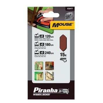 Piranha schuurstrokenset Mouse 15 stuks X32477