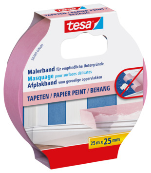Tesa Precision afplaktape sensitive 25 mm 25 meter roze