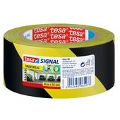 Tesa waarschuwingstape geel/zwart