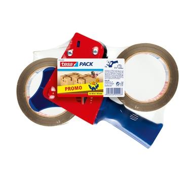 Tesa verpakkingstape 66 m 50 mm 2 stuks met afroller