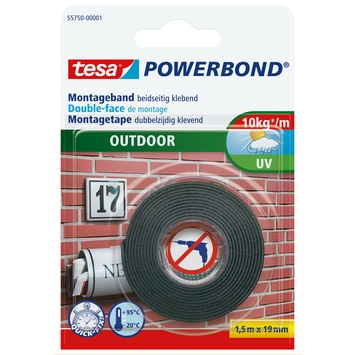 Tesa Powerbond montagetape outdoor 19 mm 1,5 meter wit