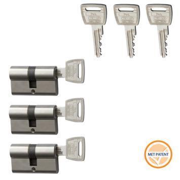 Nemef Veiligheidscilinder NF3+ 30/30 mm SKG 3-sterren gelijksluitend 3 stuks