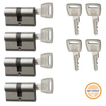 Nemef veiligheidscilinder NF3+ 30/30 mm SKG 3-sterren gelijksluitend (4 stuks)