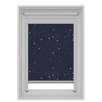GAMMA dakraam rolgordijn VELUX 7006 donkerblauw ster 134x140 cm