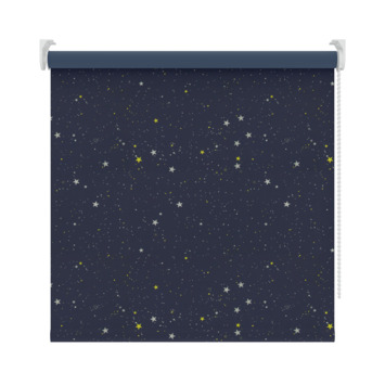 GAMMA rolgordijn dessin verduisterend 1449 donkerblauw ster 90x190 cm