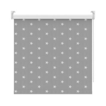 GAMMA rolgordijn dessin verduisterend 3579 grijs witte sterren 210x190 cm