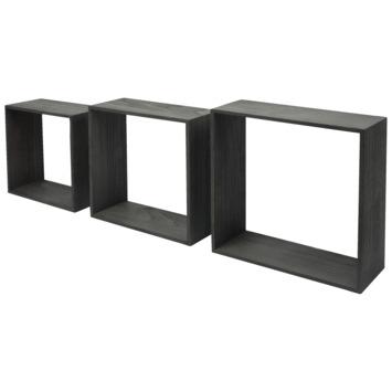 Duraline Wandkubus set van 3 Black 9mm 30x30x12cm