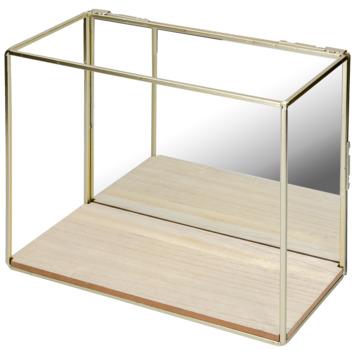 Wandbox staal enkel hout/messing spiegel 25x30x14cm