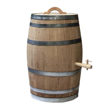 Houten regenton kastanje 150 liter met handvat en kraan