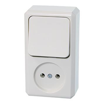 Schneider Electric Merten Contura Opbouw combi wandcontactdoos/wissel wit