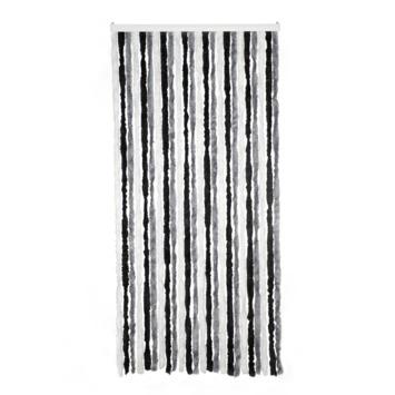 Livin' outdoor deurgordijn Chenille grijs/zwart/wit 230x100cm