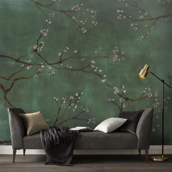 Fotobehang Chinese bloesem groen (107935)