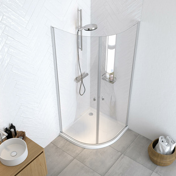 Get Wet douchecabine Hooked kwartrond 100x100x200cm hoogglans aluminium