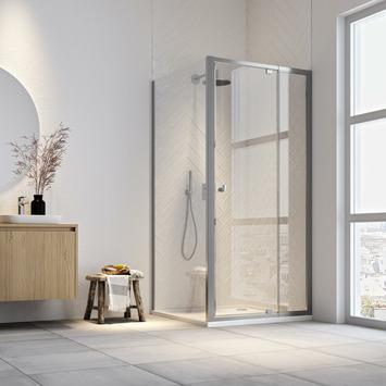 Get Wet draaideur en douchewand Hooked 100x100x200cm verstelbaar hoogglans aluminium