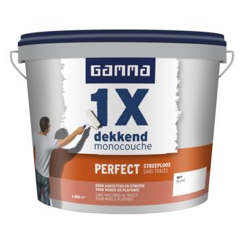 GAMMA muur- en plafondverf 1x dekkend perfect streeploos wit 10 liter