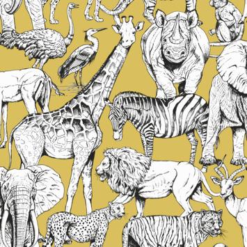 Vliesbehang Jungle dieren geel (107691)