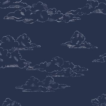 Vliesbehang Vintage wolk donkerblauw (108554)
