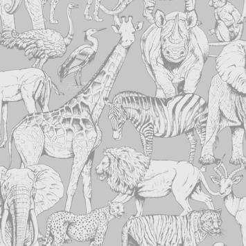 Vliesbehang Jungle dieren grijs (108567)