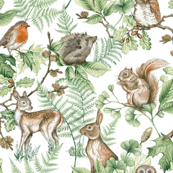 Vliesbehang Woodland dieren naturel (108569)
