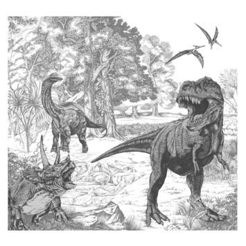 Fotobehang Dino schets (111396)