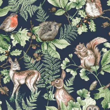 Vliesbehang Woodland dieren donkerblauw (108568)