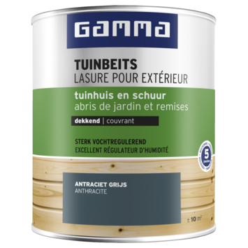 GAMMA tuinbeits tuinhuis & schuur dekkend RAL 7016 antraciet grijs 750 ml