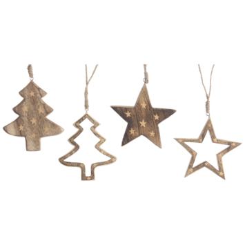 Kerstfiguur Paulownia hanger 4 assorti