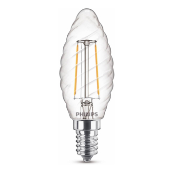 Philips LED kaars gedraaid E14 25W filament helder niet dimbaar