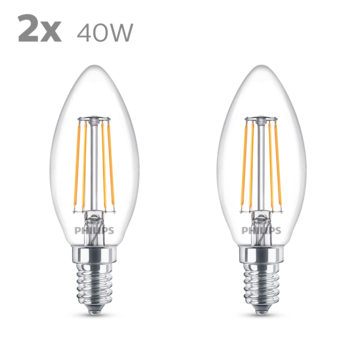 Philips LED kaars E14 40W 2 stuks filament helder niet dimbaar