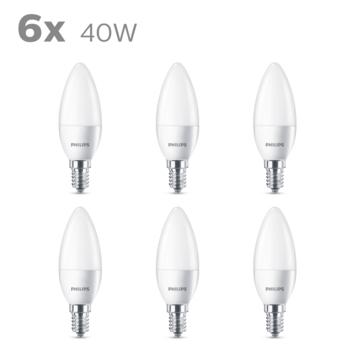 Philips LED kaars E14 40W 6 stuks mat niet dimbaar